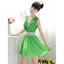 Women's V Neck Waist Gathered Dress(Slim Cut)