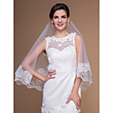 One-tier Elbow Wedding Veils With Lace Applique Edge (More Colors)