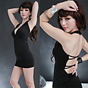Sexy and Elegant Black Polyester Sexy Dress(1 Piece)