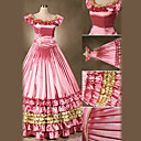 Short Sleeve Floor-length Pink Satin Sweet Lolita Dress