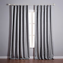 (Two Panels) Classic Grey Solid Blackout Curtains