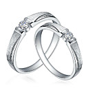 Charming 925 Sterling Silver with Cubic Zirconia Couple's Rings
