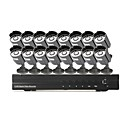 16 Outdoor Day Night CCTV Home Video Surveillance Security Camera Kit(H.264 Network,IR 10m)