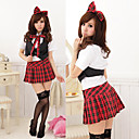 Cute Girl Black and Red and White Polyester School Uniform with Bow(5 Pieces)