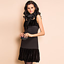 TS Mesh Collar Decor Velvet Vest Dress