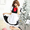 Hot Girl Black Polyester Maid Suit  with Lace and Bow(5 Pieces)
