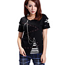 Manches courtes en alliage Zipper Punk Lolita Coton T-shirt