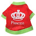 Princess Crown Pattern T-Shirt for Dogs (Red,XS-L)