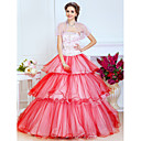 Ball Gown Strapless Floor-length Tulle And Satin Evening Dress With A Wrap