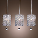 Crystal Drop Pendant Light with 3 Lights in Cylinder Style