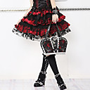 Short Check Pattern Cotton Floral Lace Trim Gothic Lolita Skirt(66-80CM)(2 Colors)