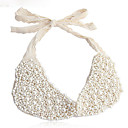 Fashion White Lace Pearl False Collar Necklace