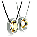 Couple's Real Gold Plated Dubbele Ring Kristal ingelegd ketting (2 PCS)