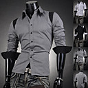 Men's Fashion Color Block Slim Shirt