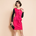 TS Contrast Color Ruffle Front Peplum Sheath Dress