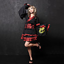 Floral Long Sleeve Short Black and Red Cotton Floral Trim Wa Lolita Kimono Coat(Size:XXL)