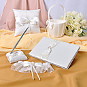 Ivory Satin Wedding Collection Set With Faux Peal Accents (5 Pieces)