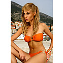 Women's Sexy Lovely Pleated Strapless Orange Swimwear