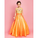A-line Sweetheart Floor-length Tulle Flower Girl Dress With Beading And Sequins