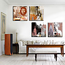 Stretched Canvas Print Vintage People Set of 4 1301-0192