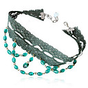 Elegant Bead Lace Choker Necklace in Dark Green