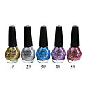 5-color brillo precioso esmalte de uñas (15 ml, 5 botellas)
