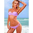 Women's Bandeau Pleated Lovely Purple Swimwear