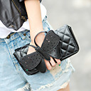 Women's Lovely Bow Diamond Check Clutch Bag