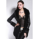 Long Sleeve Fox Fur Shawl Collar Lambskin Leather With Lamb Fur Casual/Party Coat