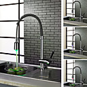 Contemporary Chrome Finish Single Handle LED Kictchen Faucet