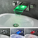 Chrome Finish Contemporary Waterfall Color Changing LED Bathroom Sink Faucet