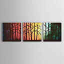 Pintados  mo petrleo Floresta Paisagem Pintura Conjunto de 3 1302-LS0218