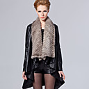 Gorgeous Long Sleeve Mink Fur Shawl Collar Lambskin Leather Casual/Party Coat