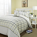Plaid Jacquard Linen / Cotton Twin / Queen / King 3-Piece Duvet Cover Set