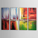 Met de hand geschilderde abstracte olieverf met gestrekte frame - set van 4
