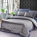 300TC Gray Jacquard Full 4-Piece Duvet Cover Set