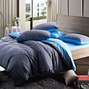 Morden Grey/Blue Solid Flannel Full / Queen / King 4-Piece Duvet Cover Set