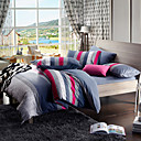 Morden Grey/Purple Stripe Flannel Full / Queen / King 4-Piece Duvet Cover Set