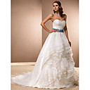 baljurk sweetheart kapel trein organza bruidsjurk