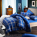 Morden Blue Check Flannel Full / Queen / King 4-Piece Duvet Cover Set