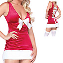 Sexy Low-cut Ribbon Red Velvet Christmas Costume (1 Piece)