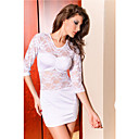 Women's White Lace Mid Sleeve Dress(Length:68m Bust:86-102cm Waist:58-79 Hip:90-105cm)