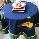 Deep Blue Floral Square Embroidered Cotton Table Cloth