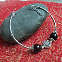 Women's Simple Rose with Black Balls Silver Bracelet