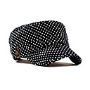 Black and White Dot Pattern Flat Cap(56-58cm)