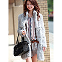 Long Sleeve Standing Collar Rabbit Fur Casual/Party Coat (More Colors)