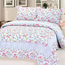3PCS Grace Floral Cotton Queen Size Quilt Set