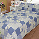 3PCS Blue Plaid Quilted Cotton Full Duvet Cover Set