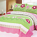 3PCS Green Floral Cotton Queen Size Quilt Set