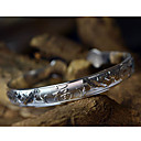 Women's Chinese Character Carved Silver Bracelet